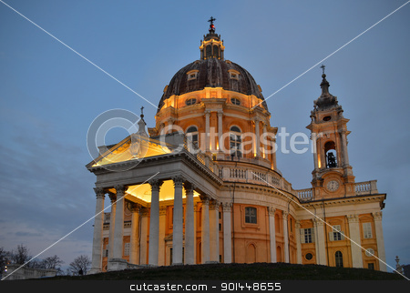 Basilica di Superga in Turin stock photo, Basilica di Superga in Torino, Italy, at dusk by Stefano Cavoretto