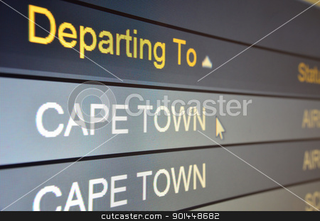 Flight departing to Cape Town stock photo, Computer screen closeup of Cape Town flight status by Stefano Cavoretto
