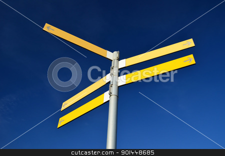 Empty direction street signs stock photo, Blank crossroad signs for directions or choices by Stefano Cavoretto