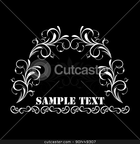 Illustration of white floral vintage background stock vector clipart, Illustration of white floral vintage background with text for design - vector by -=Mad Dog=-