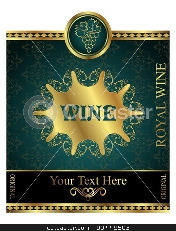 golden label for packing wine stock vector clipart, Illustration golden label for packing wine - vector by -=Mad Dog=-