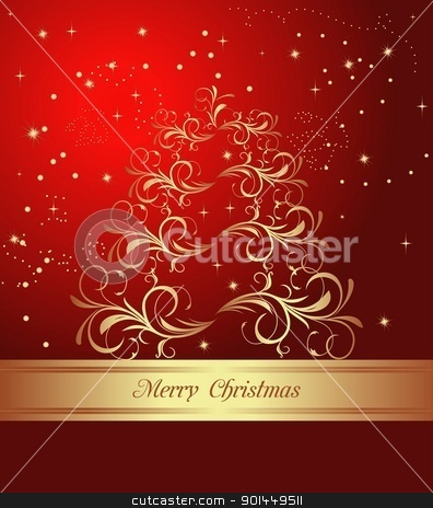 abstract christmas tree stock vector clipart, Celebration card with abstract christmas floral tree. Vector by -=Mad Dog=-