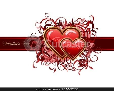 Valentine's grunge card with hearts stock vector clipart, Illustration of Valentine's grunge card with hearts - vector by -=Mad Dog=-