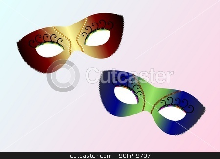 realistic carnaval masks stock vector clipart, Vector realistic carnaval masks by -=Mad Dog=-