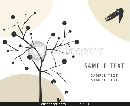 Crow and apple tree stock vector clipart, Crow and apple tree. Vector by -=Mad Dog=-