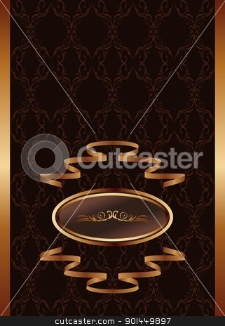 royal background stock vector clipart, Illustration royal background with golden frame and ribbon - vector by -=Mad Dog=-