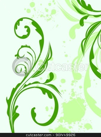 Illustration spring grunge flower and  leaf stock vector clipart, Illustration spring grunge flower and  leaf green. Vector  by -=Mad Dog=-