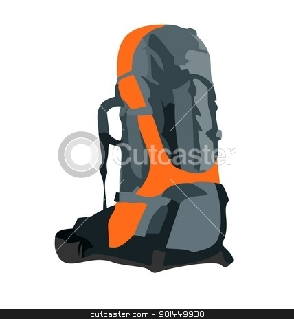 Realistic illustration of tourism backpack stock vector clipart, Realistic illustration of tourism backpack isolated on white background - vector by -=Mad Dog=-