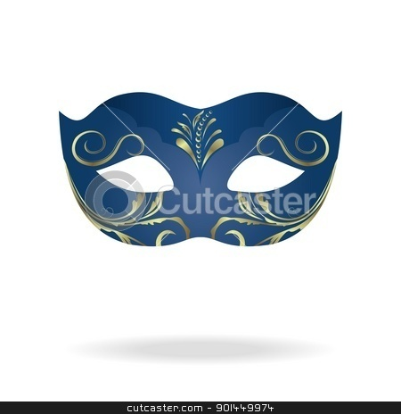 Illustration of realistic carnival or theater mask stock vector clipart, Illustration of realistic carnival or theater mask isolated on white background - vector by -=Mad Dog=-
