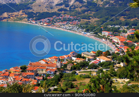 Adriatic Town of Baska aerial panorama stock photo, Adriatic Town of Baska aerial panorama, Island Krk, Croatia by xbrchx