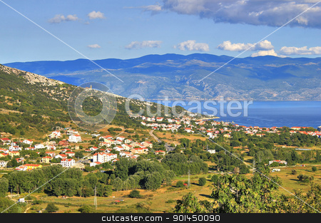 Baska bay mountain and sea landscape stock photo, Baska bay mountain and sea landscape, Island of Krk, Croatia by xbrchx