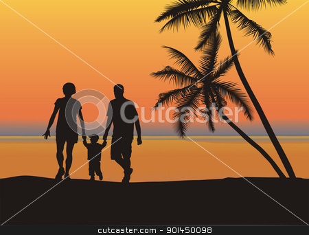 Young family on the beach stock vector clipart, Father and mother holding son's hand on the beach by Vladim?