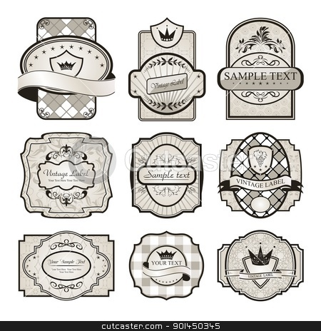 set retro variation vintage labels (6) stock vector clipart, Illustration set retro variation vintage labels (6) - vector by -=Mad Dog=-
