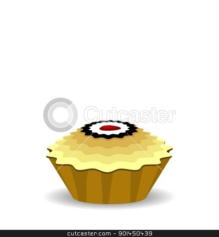 Illustration the cute cupcake stock vector clipart, Illustration the cute cupcake isolated on white background - vector by -=Mad Dog=-