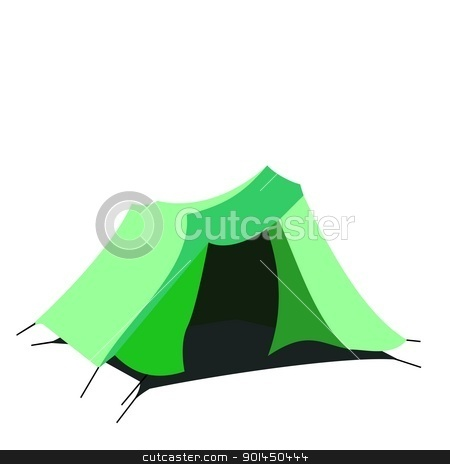 Tourist tent isolated on a white background stock vector clipart, Tourist tent isolated on a white background. Vector by -=Mad Dog=-