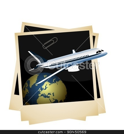 Illustration a conceptual composition - of the plane taking off  stock vector clipart, Illustration a conceptual composition - of the plane taking off from planet space on photoframe background - vector by -=Mad Dog=-