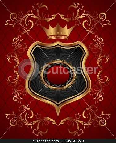 elegant gold heraldry frame stock vector clipart, Illustration elegant gold heraldry frame - vector by -=Mad Dog=-