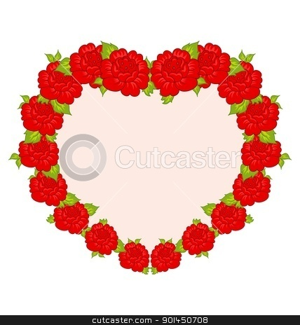 beautiful flowers from heart stock vector clipart, Illustration beautiful flowers from heart - vector by -=Mad Dog=-