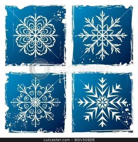 set grunge snowflake stock vector clipart, Illustration of set grunge snowflakes - vector by -=Mad Dog=-