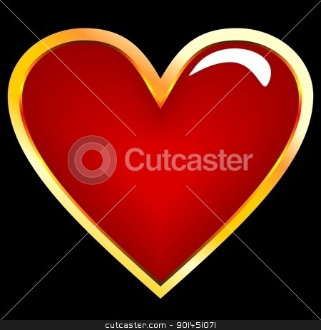 Realistic illustration of golden heart stock vector clipart, Realistic illustration of golden heart - vector by -=Mad Dog=-