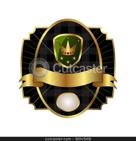 royal label with golden frame, shield, crown stock vector clipart, Illustration royal label with golden frame, shield, crown - vector by -=Mad Dog=-
