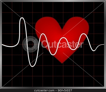 Heart and heartbeat symbol stock vector clipart, Editable background with heart and heartbeat symbol. Vector by -=Mad Dog=-