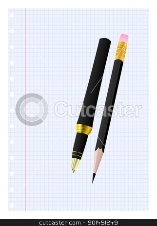 Pen and pencil on a sheet stock vector clipart, Pen and pencil on a sheet. Vector illustration. by -=Mad Dog=-
