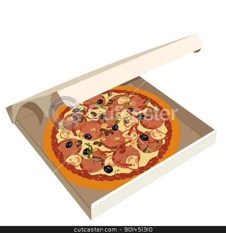 Realistic illustration pizza in box stock vector clipart, Realistic illustration pizza in box - vector by -=Mad Dog=-