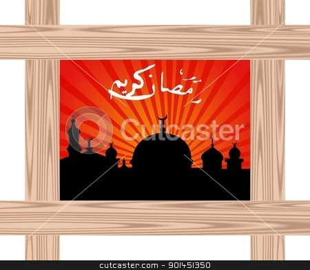 ramazan celebration background with wooden frame stock vector clipart, Illustration ramazan celebration background with wooden frame - vector by -=Mad Dog=-