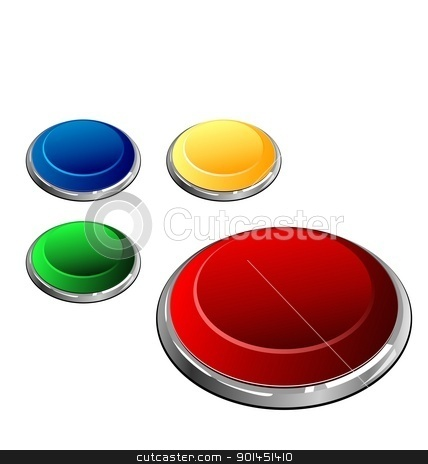 Illustration of set of multi-coloured buttons - vector stock vector clipart, Illustration of set of multi-coloured buttons the arrangement is similar to trace of the wolf paw - vector