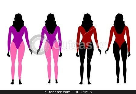 Silhouettes of women in sportswear stock vector clipart, Vector illustration of silhouettes of women in sportswear by -=Mad Dog=-