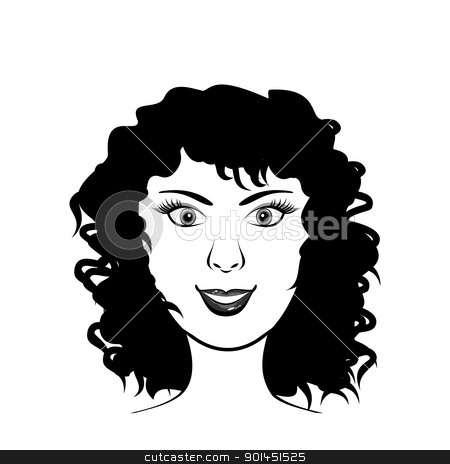 beauty girl face stock vector clipart, Illustration beauty girl face, design elements - vector by -=Mad Dog=-