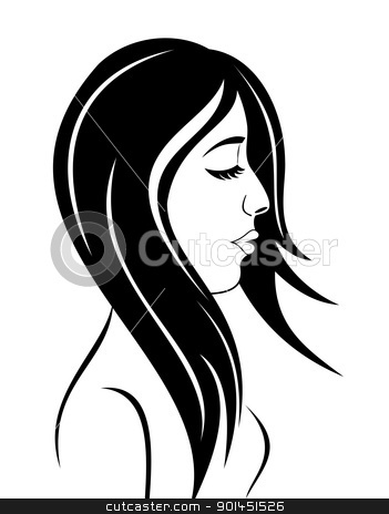 beauty face girl portrait stock vector clipart, Illustration beauty face girl portrait - vector by -=Mad Dog=-