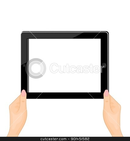 Illustration of the computer tablet in a hand of the woman - hor stock vector clipart, Illustration of the computer tablet in a hand of the woman isolated on a white background - vector by -=Mad Dog=-