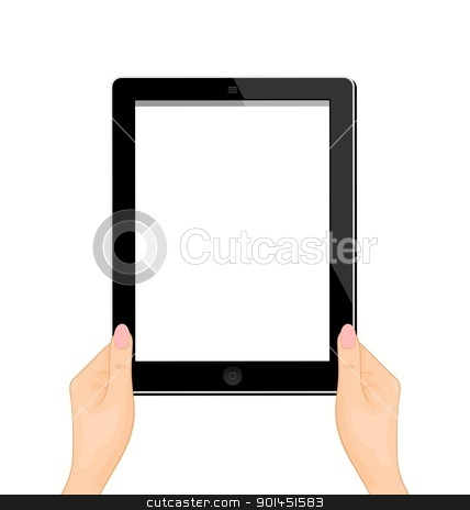 Illustration of the computer tablet in a hand of the woman - ver stock vector clipart, Illustration of the computer tablet in a hand of the woman isolated on a white background - vector by -=Mad Dog=-