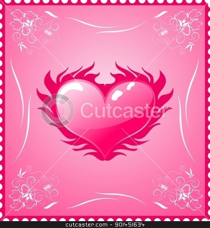 romantic stamp for Valentine's day stock vector clipart, Illustration romantic stamp for Valentine's day - vector by -=Mad Dog=-
