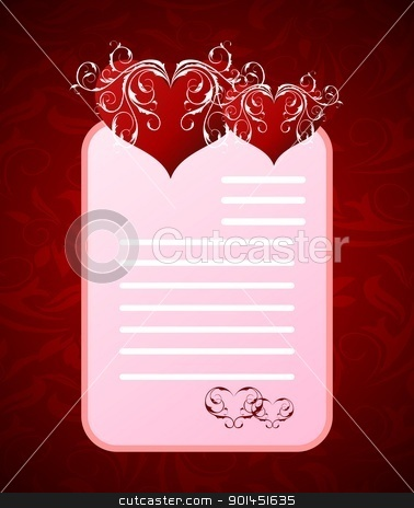 romantic letter for Valentine's day stock vector clipart, Illustration romantic letter for Valentine's day - vector by -=Mad Dog=-