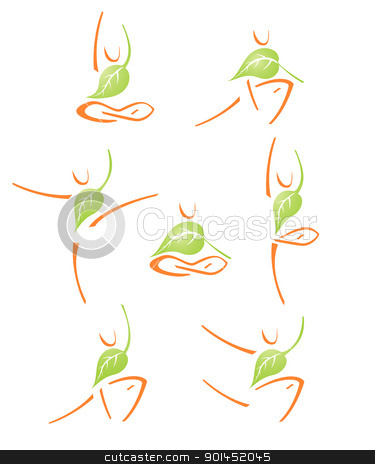 yoga icons set with leaf stock vector clipart, variations of yoga positions with the leaf by Evgeniy Shadrin