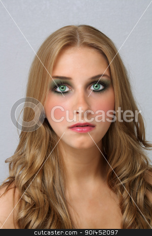 Beautiful Young Blonde, Headshot (1) stock photo, A studio close-up of a lovely young blonde with captivating eyes. by Carl Stewart