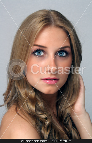 Beautiful Young Blonde, Headshot (3) stock photo, A studio close-up of a lovely young blonde with captivating eyes. by Carl Stewart