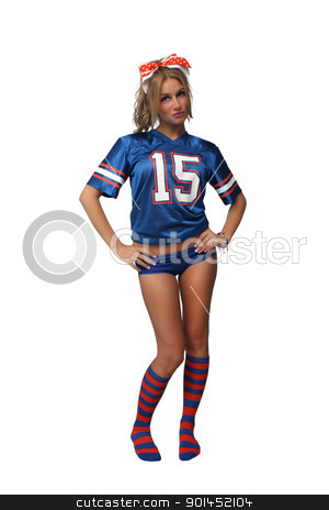 Sexy Blonde Football Fan (2) stock photo, A full-length shot of a sexy young blonde wearing booty shorts and a football jersey with matching socks.  Isolated on a white background with generous copyspace. by Carl Stewart