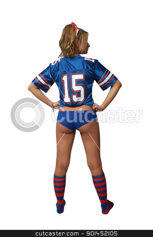 Sexy Blonde Football Fan (3) stock photo, A full-length shot of a sexy young blonde wearing booty shorts and a football jersey with matching socks.  Isolated on a white background with generous copyspace. by Carl Stewart