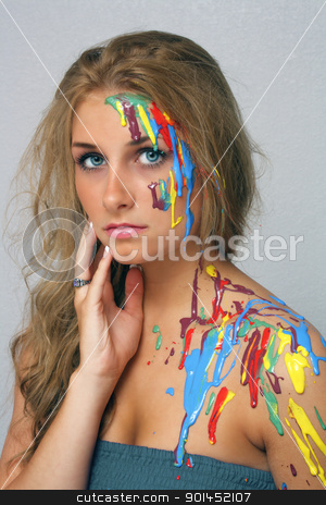 Beautiful Young Blonde, Headshot (5) stock photo, A studio close-up of a lovely young blonde with several colors of paint poured and dripping on her. by Carl Stewart