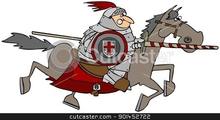 Jousting Knight On A Horse stock photo, This illustration depicts a Knight with a jousting pole riding on a running horse. by Dennis Cox