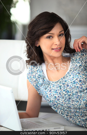 Woman working on her laptop stock photo, Woman working on her laptop by photography33