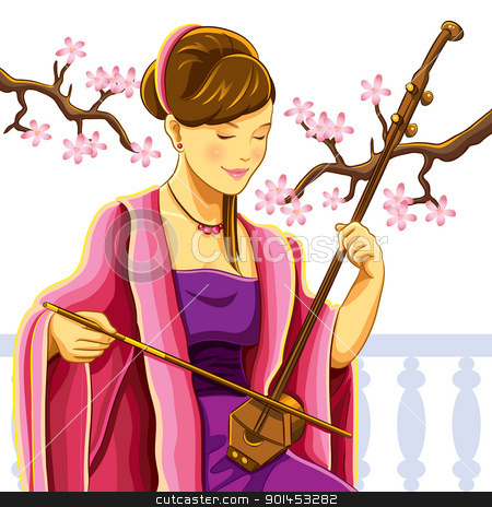 Beautiful Chinese Erhu Player stock vector clipart, cartoon illustration of beautiful chinese erhu player by H4nK