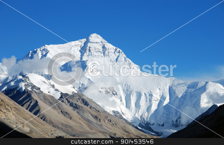 Mount Everest stock photo, High peak of Mount Everest by SandyS