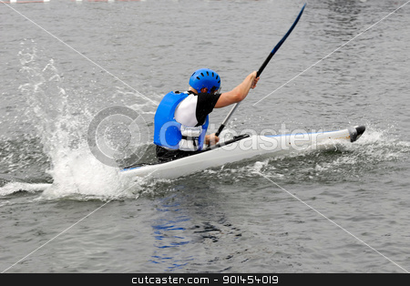 Man in kayak stock photo, Man in kayak making water splash by Lars Christensen