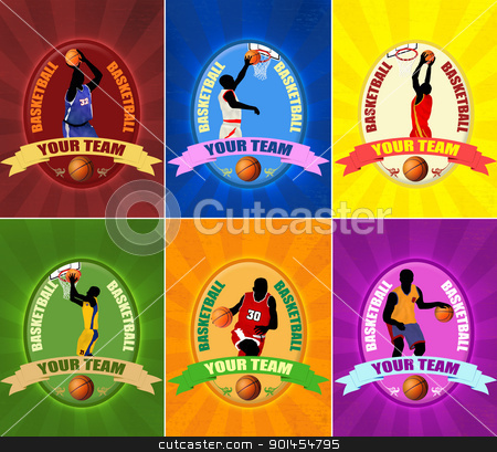 Set of basketball stock vector clipart, Set of basketball illustration emblems  with players silhouette,vector illustration by radubalint