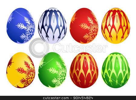 Set of easter eggs stock vector clipart, Set of easter eggs, vector illustration by Jupe